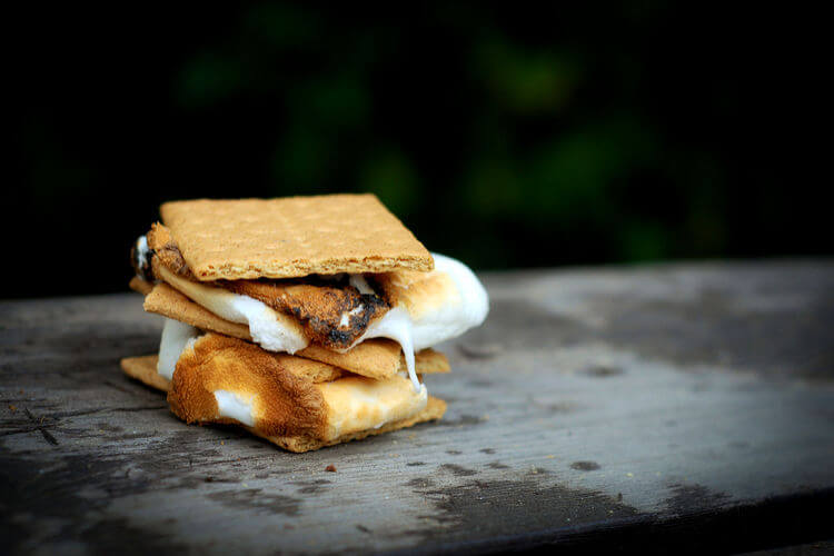 Smore marshmallow and biscuit toasted and melted