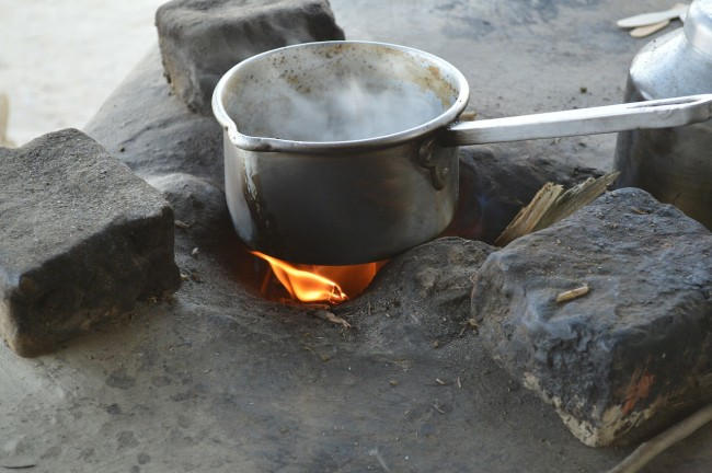 Pan cooking on campfire