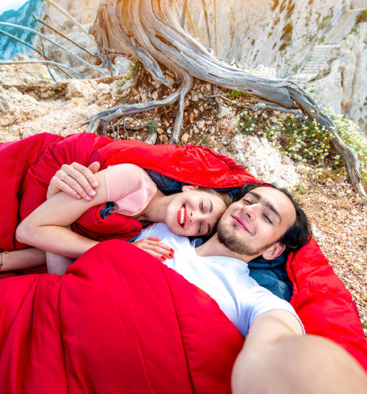 Couple in double sleeping bag