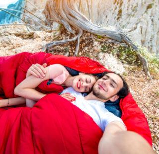 Couple in double sleeping bag