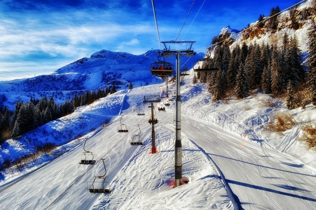 Ski lift on mountain in France