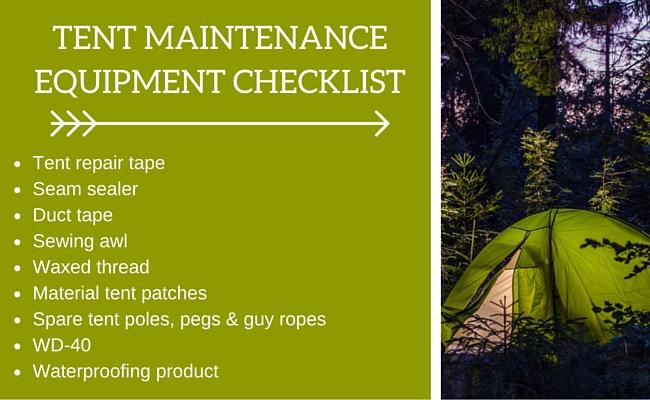 Tent maintenance equipment checklist
