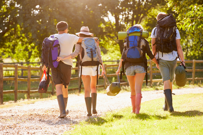 Young people leaving a music festival