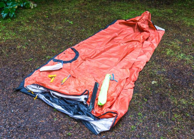 wet folded tent