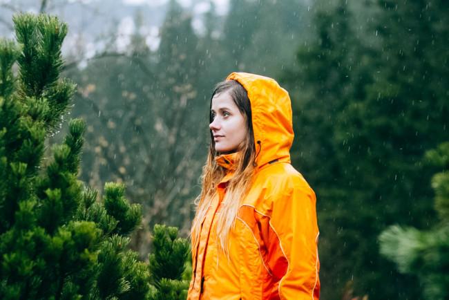 Girl on a hike in the rain