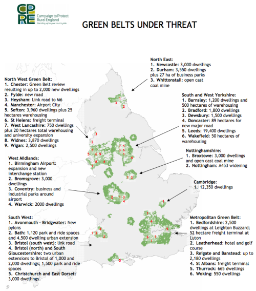 Places in the UK where the Green belt is being built on
