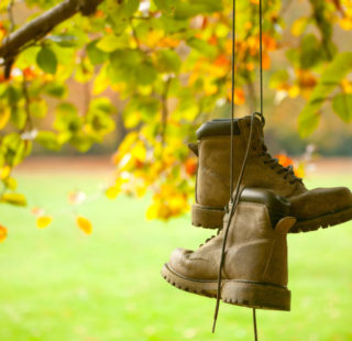 Old walking boots hanging from a tree in autumn