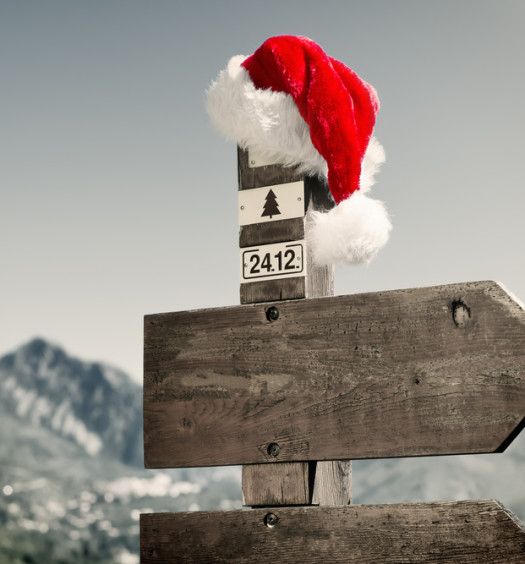 Signpost with a santa hot on top