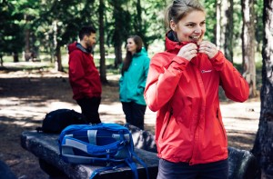 Woman wearing a Berghaus waterproof jacket