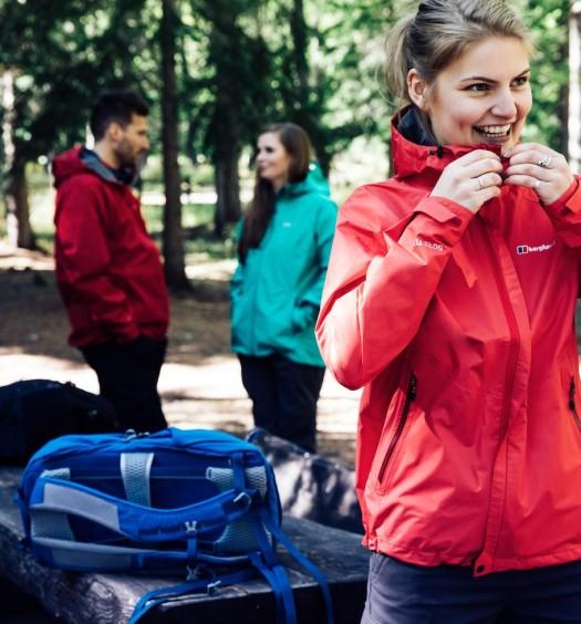 Woman wearing a Berghaus waterproof jacket
