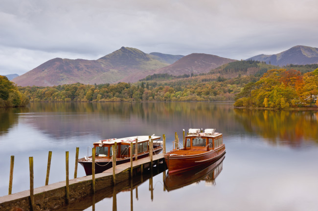 Boats on derwentwater in lake district
