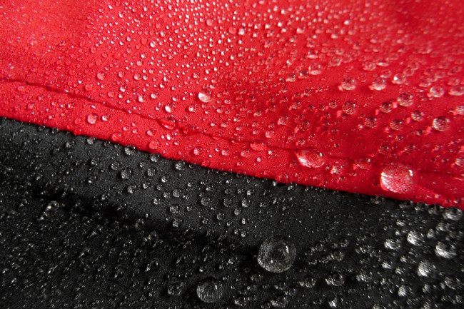 Water beading on a waterproof jacket