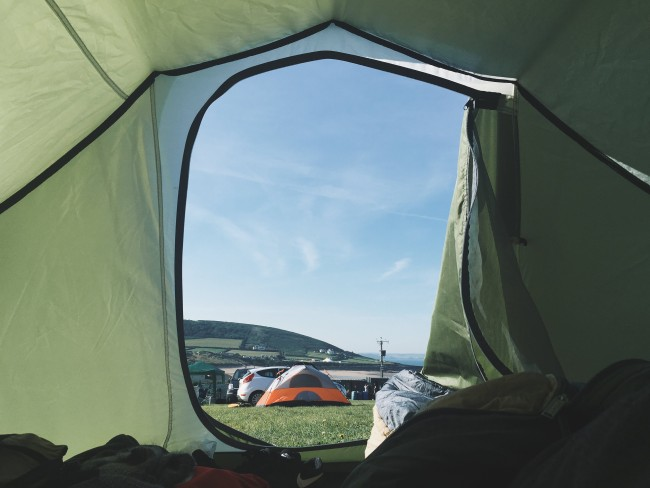 View From The Inside Of A Tent Looking Out