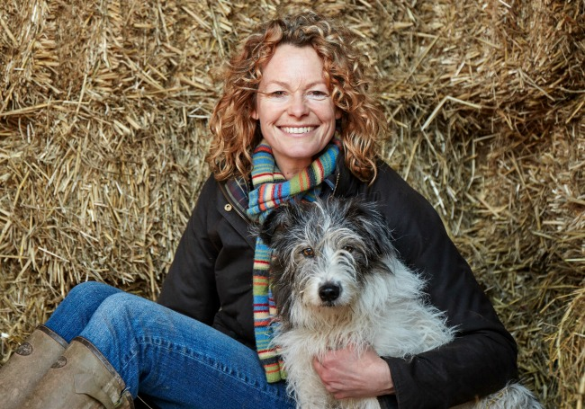 Kate Humble with her sheepdog