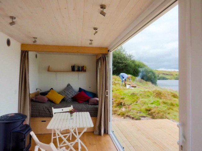 Glamping in a converted shipping container, Cornwall.