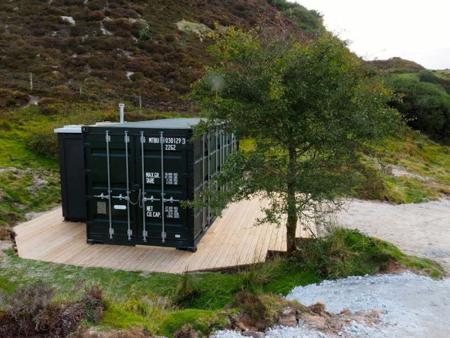 Glamping converted shipping container, cornwall