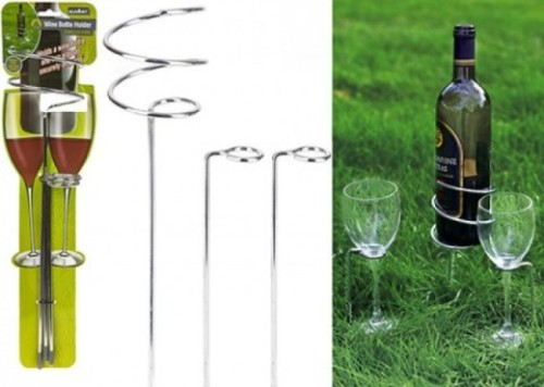 Summit wine bottle and glass camping holder
