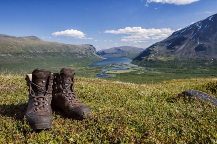 Hiking boots in a field