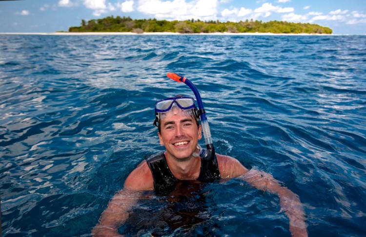 Simon Reeve snorkeling in the Indian Ocean