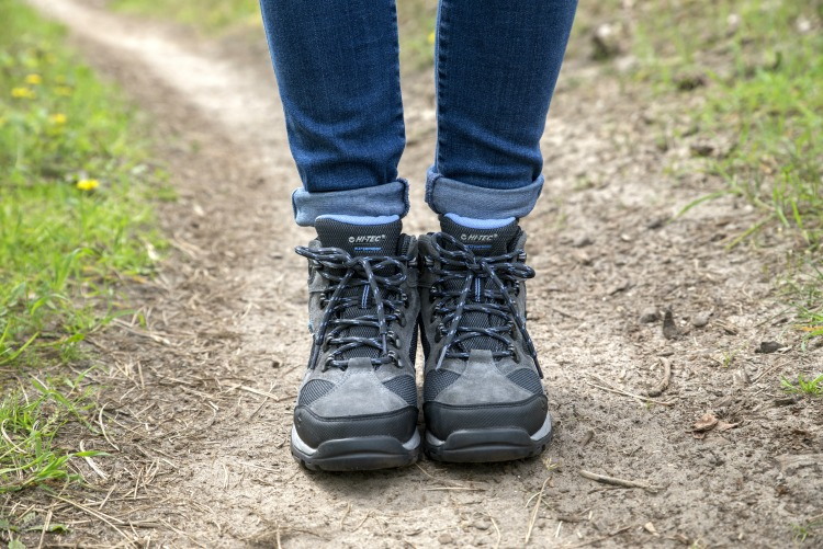 Front on shot of a woman wearing walking boots