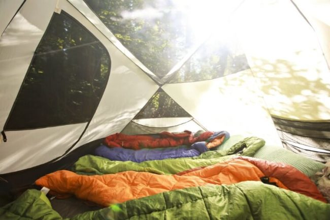Sleeping bags in a tent