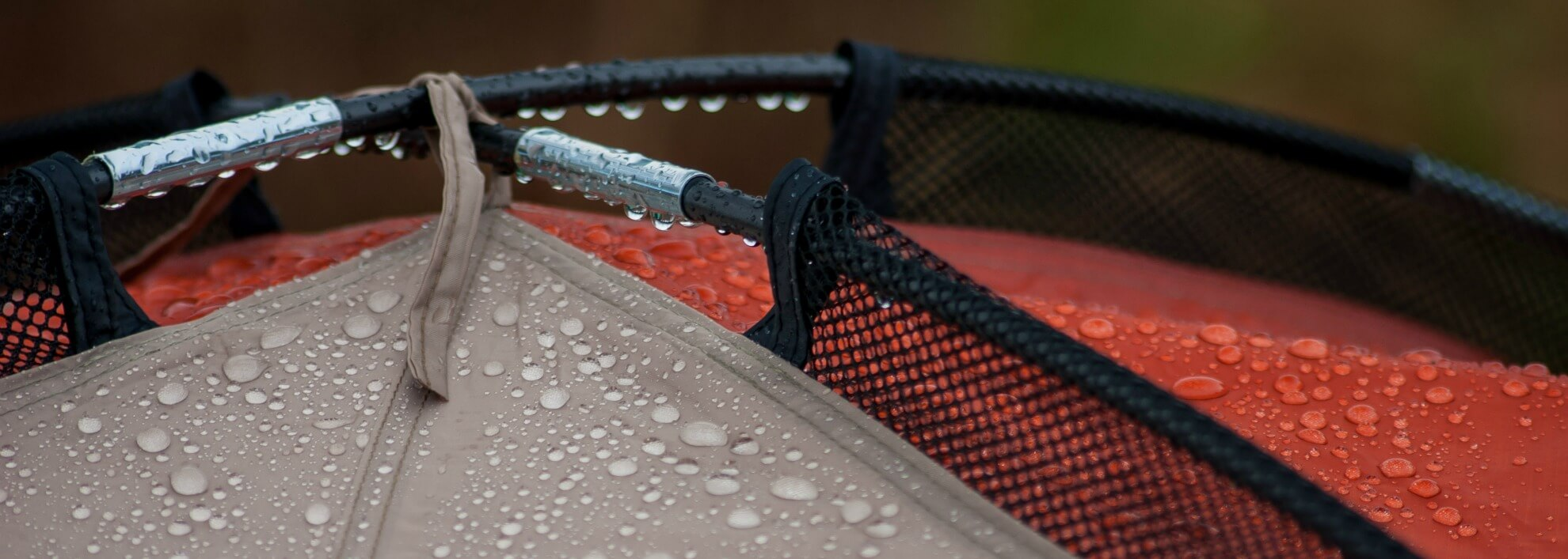 A tent in the rain