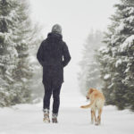 Woman and dog walking in the snow in winter